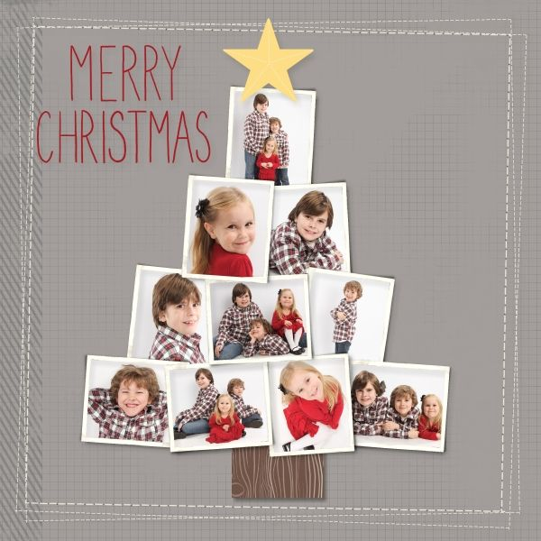 "Adorable ""Merry Christmas"" Scrapping Page...with a Photo Christmas Tree! Elizabeth Rush: My Digital Studio. This would be wonderful for a Christmas card, also."