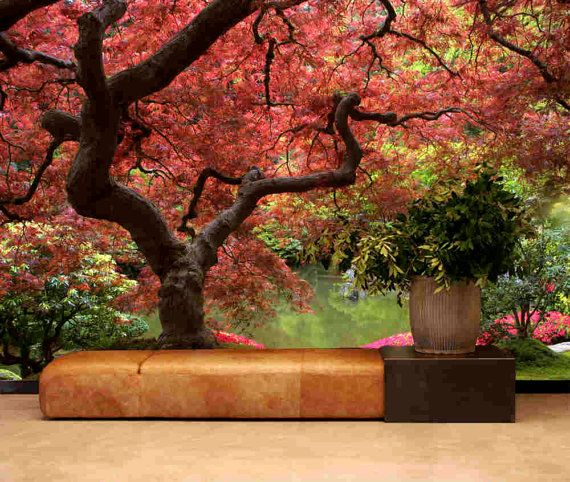 SO Beautiful! Really amazing looking piece of wall art.....wish I could get one for our first home. Mural inspires tranquility inside and out wards, exactly what I need. Love love love it!!!  Japanese Garden wall mural peel & stick wall fabric by StyleAwall