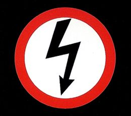 This is a logo made by Marilyn Manson for his Antichrist Superstar tour. His style has always been to shock audiences with outrageous lyrics and themes. The logo is very simple but uses a color pallet simmer to that of the Nazi party.