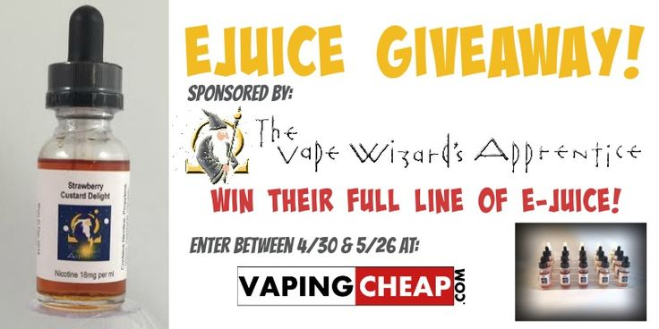 Win an entire line of ejuice from The Vape Wizards Apprentice. Enter at http://VapingCheap.com