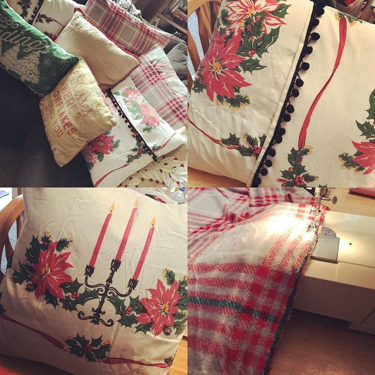 Pillow cases galore! The fleece blanket was easier to work with because it had more give but the vintage tablecloths turned out pretty cute! #crafts #diy #creativelifehappylife