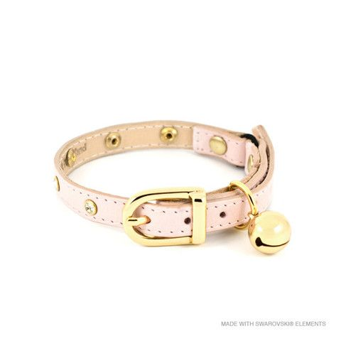 This stunning baby pink Linny leather cat collar has been delicately embellished with SWAROVSKI ELEMENTS crystals for that little extra sparkle.
