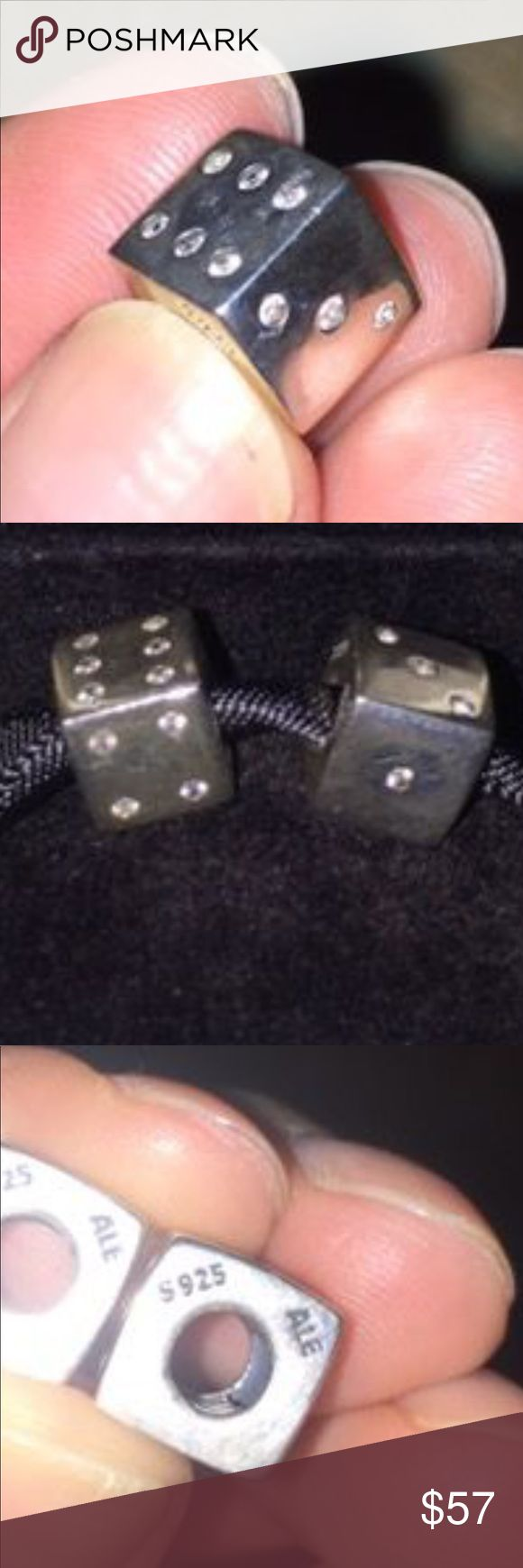 Authentic pandora s925,ALE dice with clear CZ Authentic pandora dice with clear CZ. $57  each one. No trades and offers only through offer button   This listing is for one Pandora Jewelry Bracelets