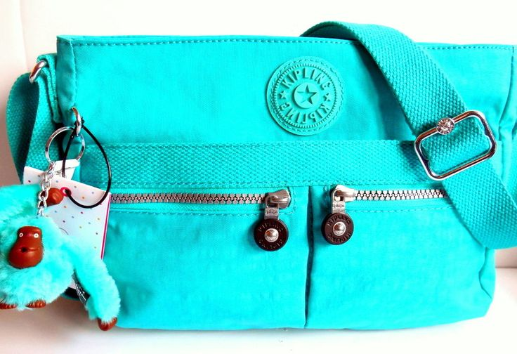 KIPLING ANGIE Crossbody Bag *NEW* Cool Turquoise Monkey Crinkle Nylon HB6680 NWT #Kipling #MessengerCrossBody