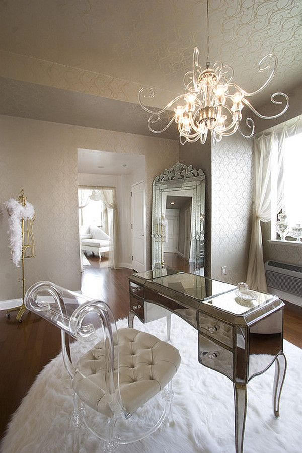 Super Elegant And Glamorous Home Office Decoration Ideas Using Glass  Chandeliers And White Fur Rug: