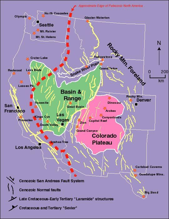 United States Fault Lines Maps Tectonic Map Of Western United - Map of the western us states