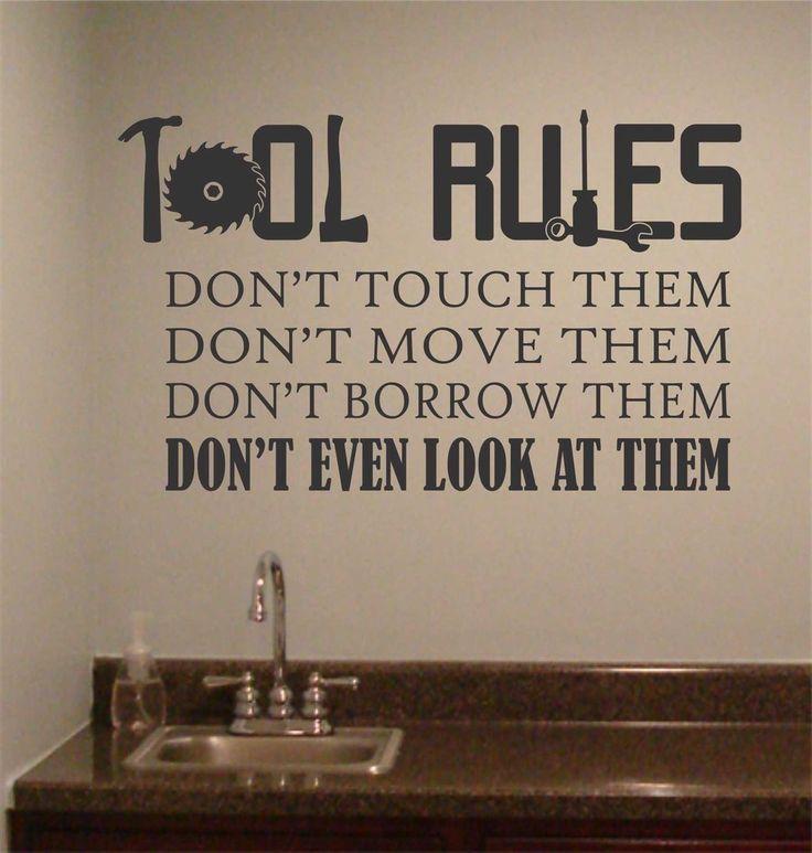 Tool Rules Man Cave | Garage Vinyl Decals | Vinyl Wall Lettering