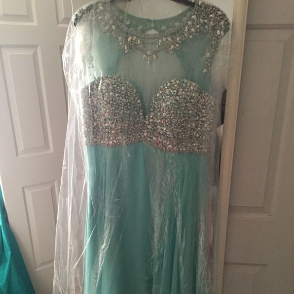 Blush Prom/Formal Dress for sale!!! price dropped hi, selling my formal dress that I wore last year. I wore it once, basically brand new. It is a size 14, and mint green color with beeding at the top. It has been altered, and brought in just a little. LET ME KNOW IF YOU ARE INTERESTED!!!! blush prom Dresses