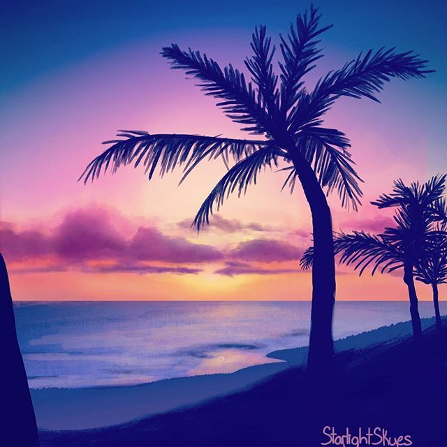 Palm Tree Sunset Painting Did This While Streaming On Twitch Art