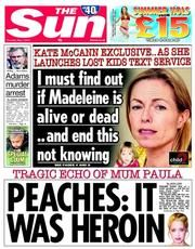 The Sun Newspaper Front Page (UK) for 1 May 2014