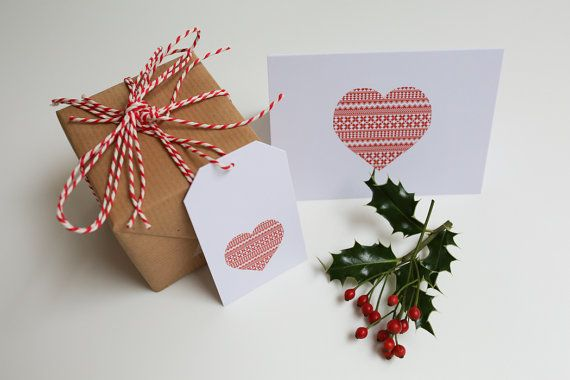 10 pack of Charity Christmas Gift Tags - Nordic red and white pattern designs Dove, Christmas trees and heart @Lucy Kemp Clark
