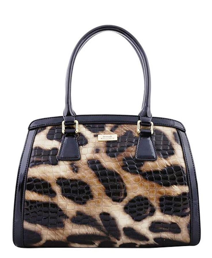 Serenade Lynx Glossy Cheetah Print Leather Handbag. SH54-7511.