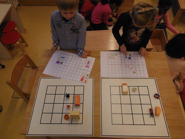 plattegrond maken. hoe ziet het er van bovenaf uit? hoe zorg je dat iemand anders de plattegrond na kan maken? eerst het raster natekenen 4x4 hokjes dan erin tekenen vervolgens omruilen en proberen na te bouwen.