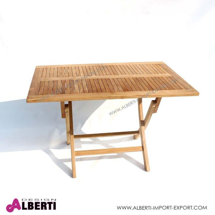 Tavolo in teak rettangolare pieghevole 120x80 Tavolo rettangolare per giardino pieghevole salva spazio con doghe del piano molto ravvicinate tra loro. Apertura e chiusura molto semplice. La ferramenta usata è in ottone.