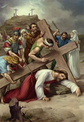 Ninth Station: Jesus falls a third time: Jesus, your journey has been long. You fall again, beneath your cross. You know your journey is coming to an end. You struggle and struggle. You get up and keep going