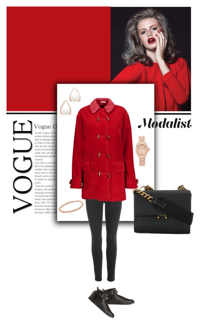 """Style with Shearling Collared Coat"" by modalist ❤ liked on Polyvore featuring Paige Denim, Tomas Maier, Theia Jewelry, Shay, Michael Kors, BUSCEMI and Marni"