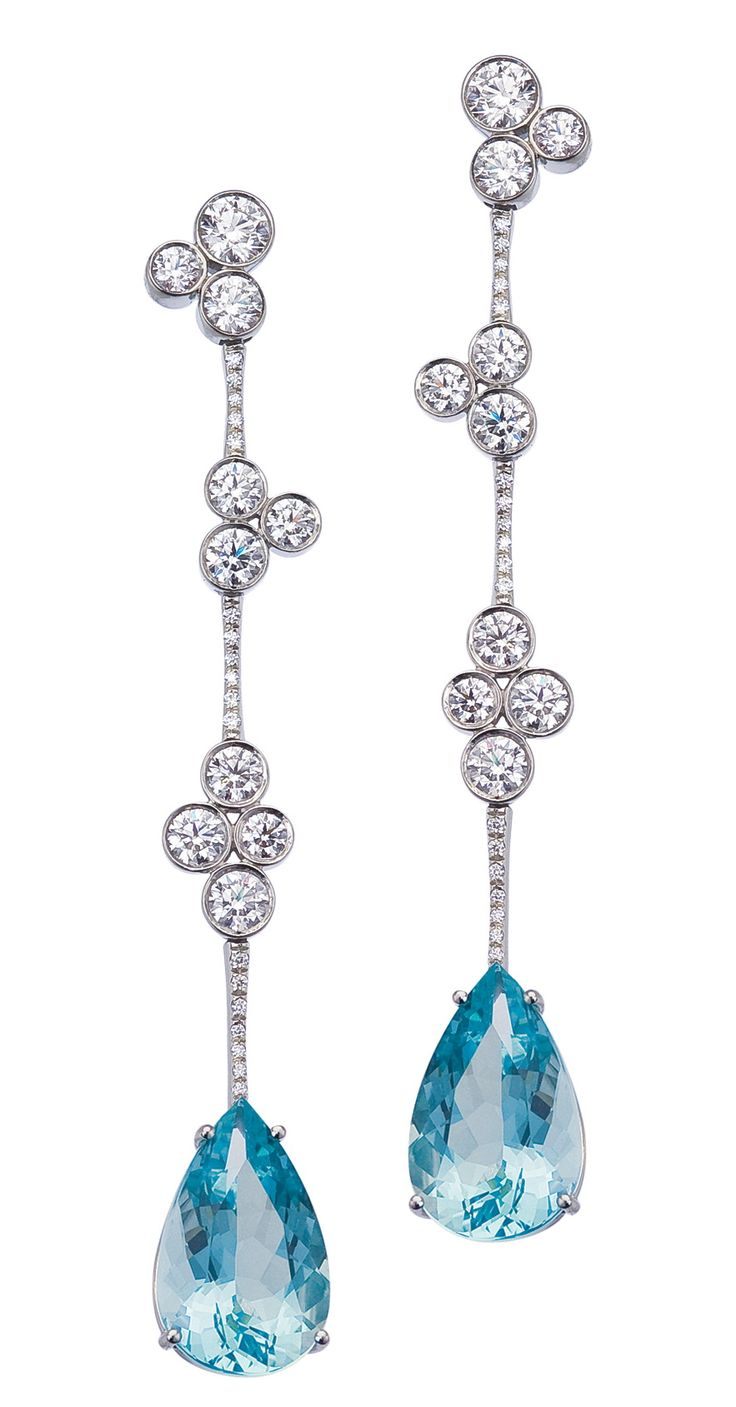 Mark Patterson Aquamarine And Diamond  Earrings