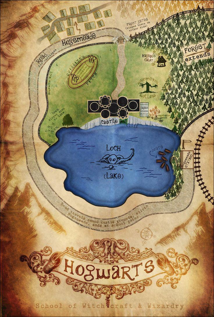Hogwarts Grounds Illustration