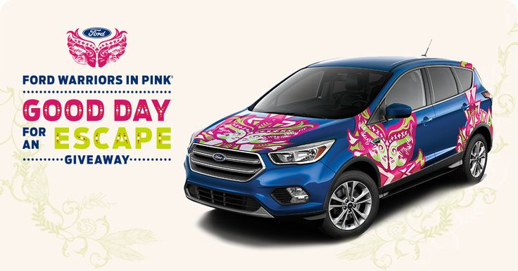 Facebook Twitter PinterestHere is an offer where you can enter to win the Ford Warriors in Pink Good Day for an Escape Giveaway. PRIZES – (1) Grand Prize – A 2017 Ford Escape Vehicle. ENTRY – One Time Entry. ENDING – December 31, 2017 (11:59 pm.) ENTER HERE