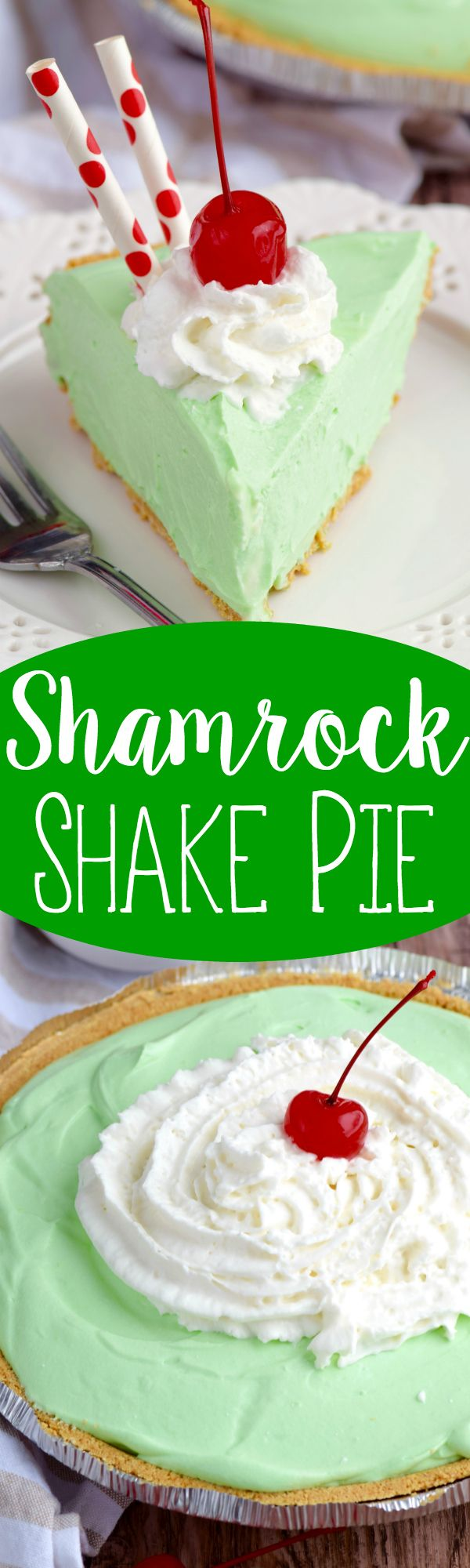 This Shamrock Shake Pie is as easy as it is TOTALLY delicious.  Make it.  Now.
