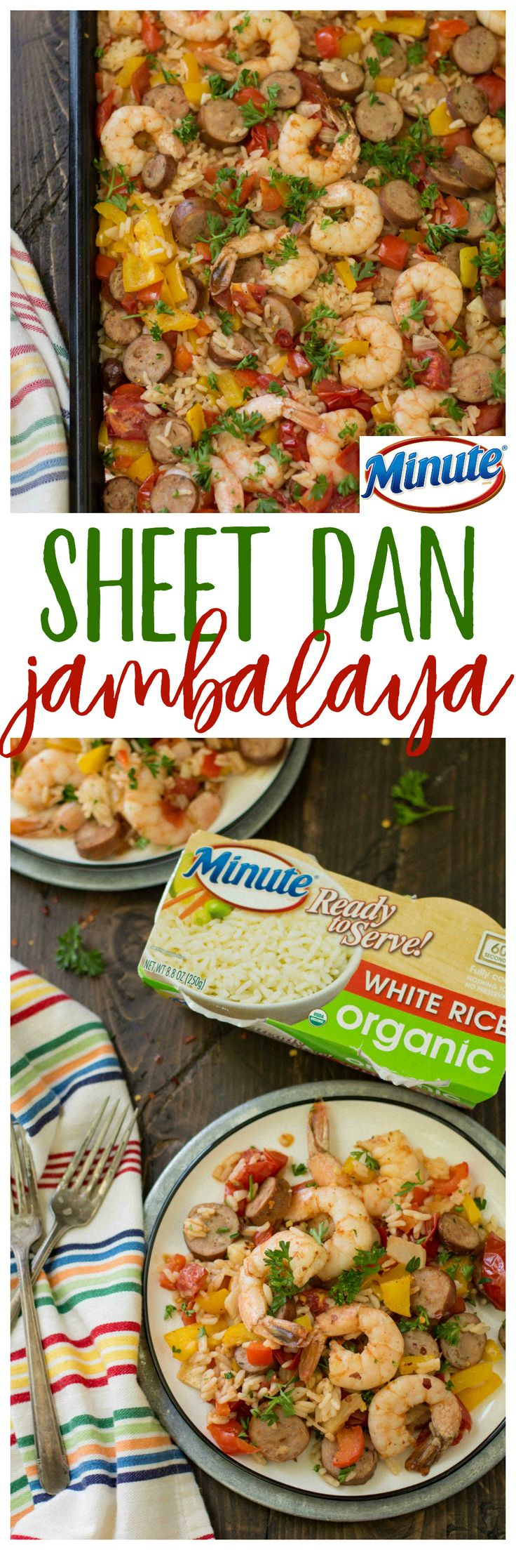 This Healthy Sheet Pan Jambalaya w/ @MinuteRiceUS is a major crowd-pleaser, uses only one pan and is totallymess-free. That's right. ONE PAN! AD