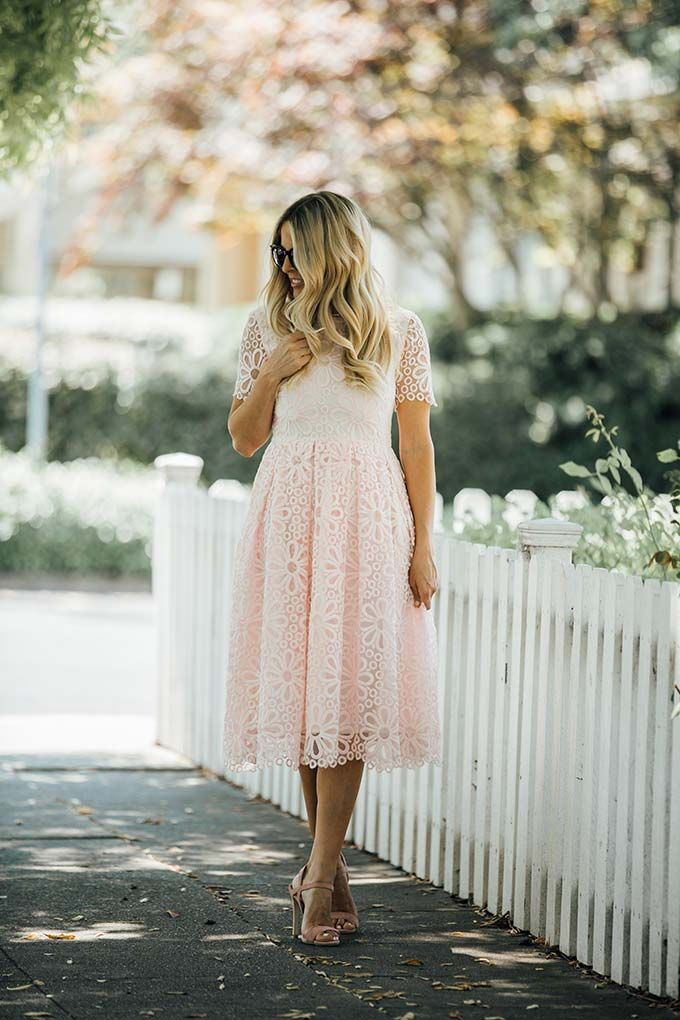 Simple spring outfit idea - a cute pink sundress with sandals and sunnies.