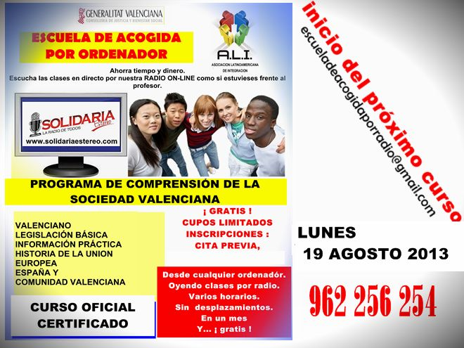 Programa de Comprensión de la Sociedad Valenciana = Escuela de Acogida. Inscripciones cada mes