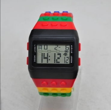wholesale shhors lego watches on www.360sportwatches.com, kids watches, girls watches, women watches, men watches, high quality digital sprot watches, 1, 12/24 hours shows;  2, LCD backlights for showing the time in dark place;  3, Alarm function setting;  4, Chronograph function;  5, Year, Month, Date, Hour, Minute and Second display in big Screen;  6, No-logo on this lego watches;  7, Daily water proof digital watch.  8, 10 different colors for choosing.