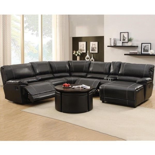 Flynn Black Bonded Leather Reclining Sectional Sofa With Console And...  ($2,906)