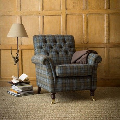 This Exquisite Foxford Armchair Will Bring A Touch Of Heritage Chic To Your Living Room Paneling IdeasTartanPlaidInterior