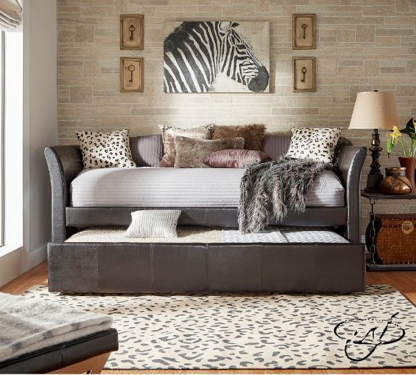 Adult Daybed With Trundle Day Bed Frame Twin XL Gray Faux Leather Spare Room #InspireQ