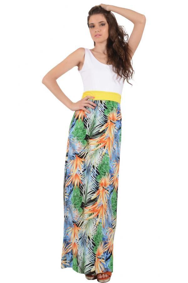 Φόρεμα εμπριμέ με μονόχρωμες λεπτομέρειες στο μπούστο μακρύ σε Α γραμμή με χαμηλή πλάτη και μακρύ σε Α