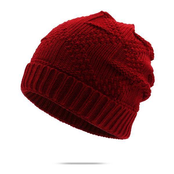 Men Winter Knitted Hat Baggy Beanie Design Stylish Outdoor Climbing Warm Hat