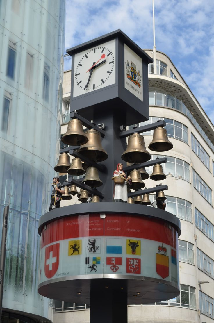 """✿ ❤ Swiss Clock, Leicester Square - i walked past this almost everyday. I can still hear it chiming """"Drunken Sailor""""."""