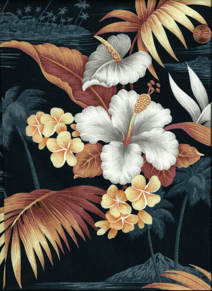 #43 - HAWAII - HIBISCUS, QUILT, CRAFT, CLOTHING FABRIC, OUT OF PRINT, 1 ONLY WOW