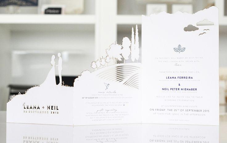 A beautiful story scape silouette laser cut invitation custom designed and created by http://www.secretdiary.co.za #lasercut #invitation #weddinginvitation #weddingstationery