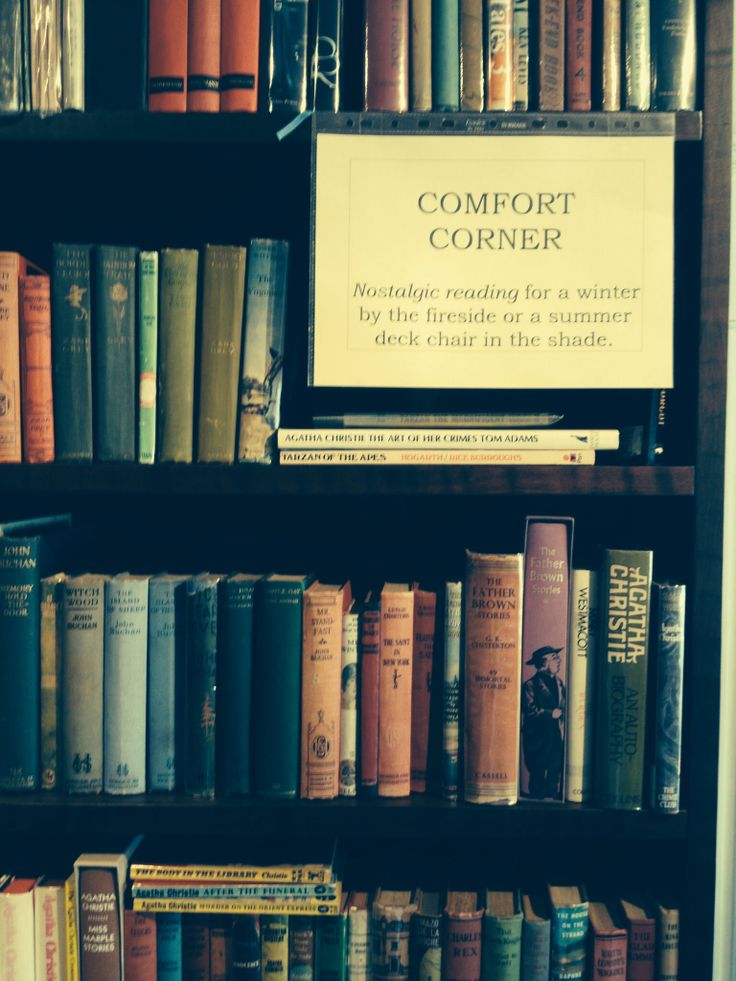 Comfort Corner name suggested by customers for the shelves of nostalgic fiction.