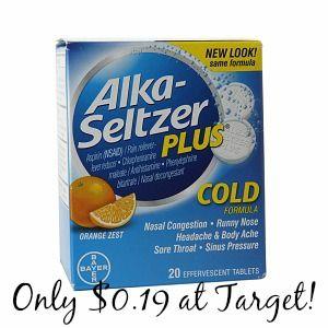 Target: Alka Seltzer Plus Only $0.19!