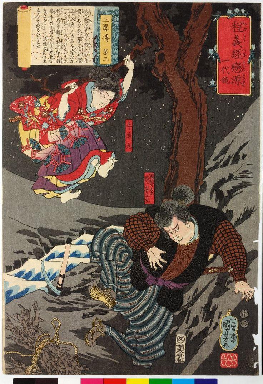 Utagawa Kuniyoshi: San ryaku den dai san 三略傳第三 (The Secrets of Strategy: Chapter Three) / Hodo Yoshitsune koi no Minamoto ichidaigami 程義經戀の源一代鏡 (Biography of Yoshitsune) - British Museum