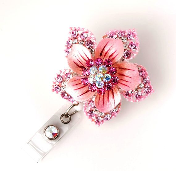 Pink Hawaiian Flower Bling - Pretty Badge Pull - Unique Badge Reel - Stylish ID Clip - Nurse Jewelry - Teacher Gift - RN Badge - BadgeBloom on Etsy, $18.00