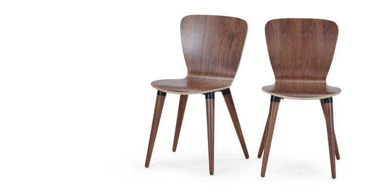 2x Edelweiss eetkamerstoelen, walnoot en zwart | made.com