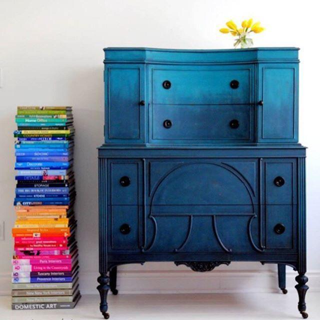 Painted dresser - blue ombre