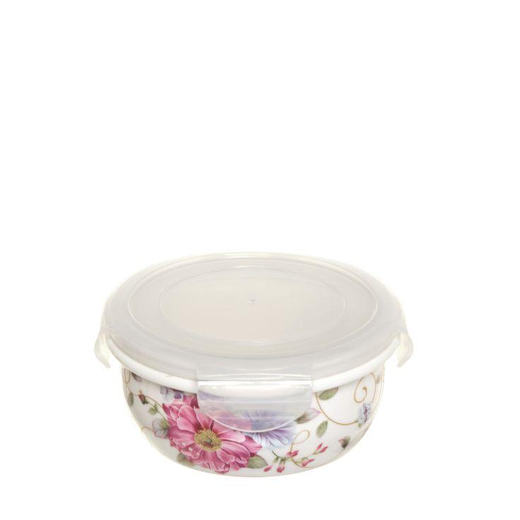 Contenitore tondo piccolo in bone china con decorazione floreale a contrasto. Coperchio con sicura a clip.