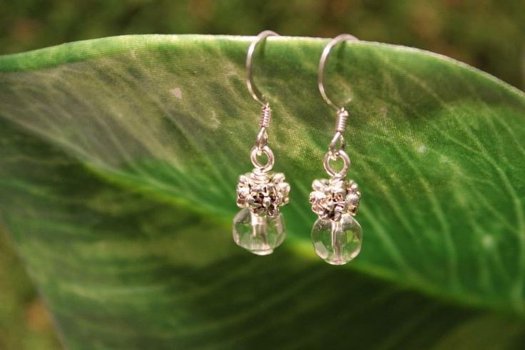 Silver and Clear 'dewdrop' earrings - Design by SwoonCreations.com #boho #gypsy #style #fashion #handmade #designer #pei