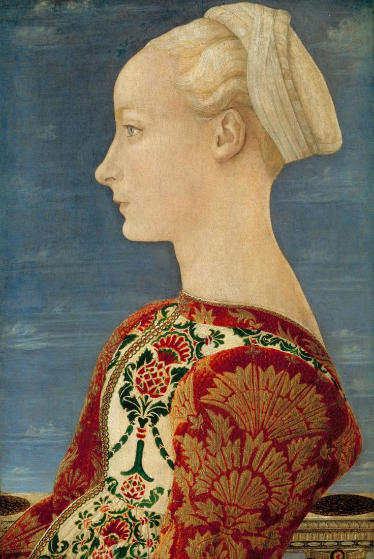 Profile Portrait of a Young Lady. c. 1465         Antonio del Pollaiuolo ( ca.1432-1498, Italian Early Renaissance Painter and Sculptor, Poplar panel, 53 x 37 cm, Gemäldegalerie, Berlin  ).Profile Portraits, Sleeveless Dresses, Italian Renaissance, 1465, Young Women, Del Pollaiuolo, Art Projects, Young Lady, Antonio Del