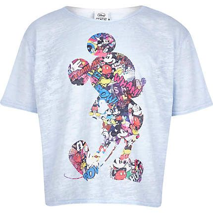 Girls blue Mickey Mouse print cropped t-shirt $24.00