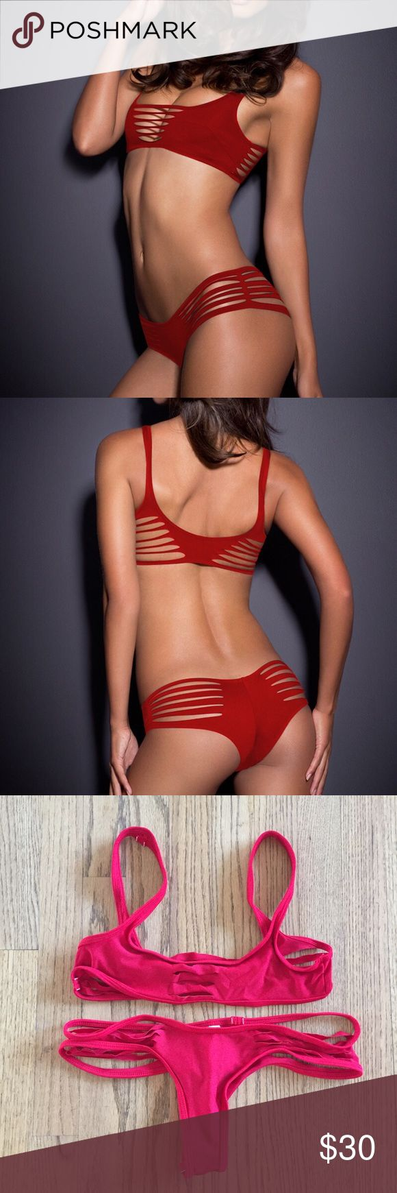 Brand new red cut out bikini swim set L This's not Beach Bunny brand. Brand new handmade red bikini swim set size L. Premium fabric of 80% Nylon and 20% Spandex. Look exact like Agent Provocateur swimsuit. No padding no lining. Selling a set only. NO trade. Price is FIRM Beach Bunny Swim Bikinis