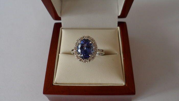 Natuurlijke tanzaniet VS (346 ct) en diamanten F-G (045 ct) - ring van 14 kt witgoud -totaal 391 ct  14 kt Solid White Gold Ring met Natural Tanzanite (346 ct) in Clarity VS Oval en MM Maat 1000 x 80 mm en 16 natuurlijke ronde diamanten (080 ct) in Color FG en Clarity VS2-SI1.Afmetingen van de ring cup: L 14 x W 12 x H 6 mmItem totaalgewicht: 4.50 gramTotaal gewicht in karaat: 391Ring maat 175 / 55 / 7.5 (US)Uitstekende conditie nauwelijks gedragenFoto's zijn genomen in het daglichtFedEx…