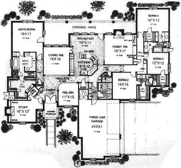 "French Country Style House Plans - 3817 Square Foot Home. Hmmm...the ""breakfast nook"" is actually large enough for a large formal dining...maybe swap bedroom four with the study?"