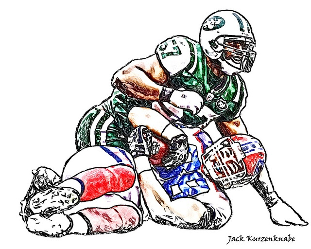 New York Jets Bart Scott - Buffalo Bills Jonathan Stupar by Jack Kurzenknabe, via Flickr
